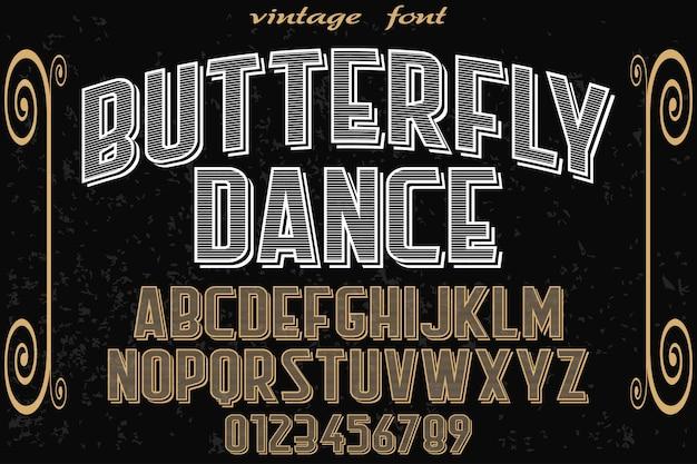 Papillon design étiquette typographie