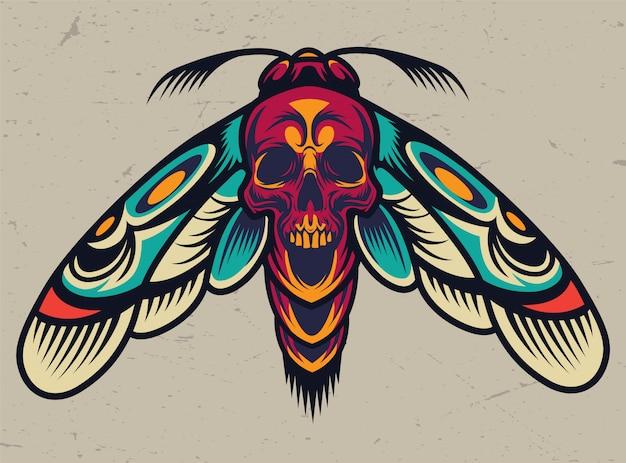 Papillon effrayant coloré vintage