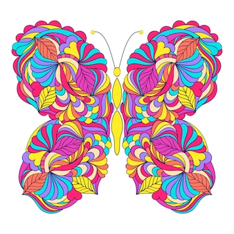 Papillon sur fond blanc