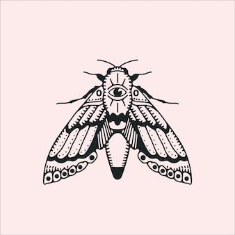 Papillon gothique avec un œil qui voit tout.