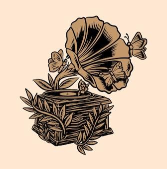 Papillon gramophone fleur