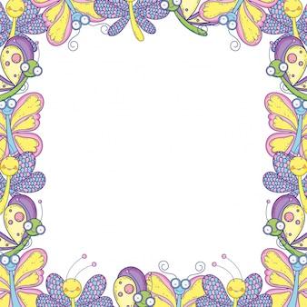Papillon isolé dessiner fond de cadre de dessin animé