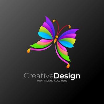 Papillon, logo abstrait avec logo coloré