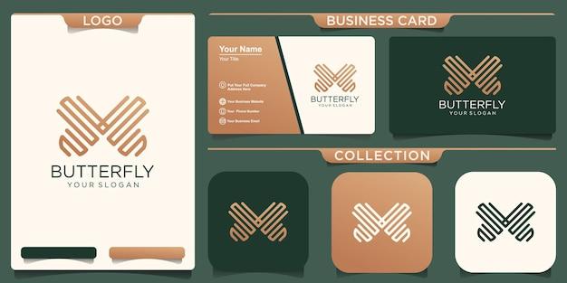 Papillon logo design géométrique modèle vectoriel abstrait icône de style linéaire.