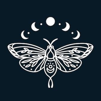Papillon magique avec impression graphique des phases de la lune impression d'art au trait avec insecte papillon dans un style bohème