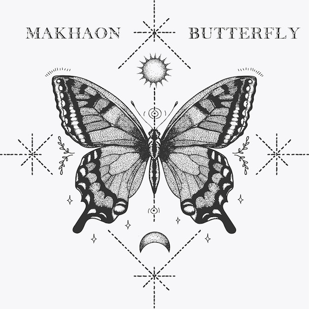 Papillon makhaon tatouage