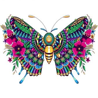 Papillon mandala zentangle illustration et conception de tshirt premium