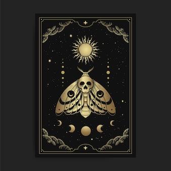 Papillon de mort et ornement des phases de lune et de soleil avec gravure, dessin à la main, luxe, ésotérique, style boho, adapté au paranormal, lecteur de tarot, astrologue ou tatouage