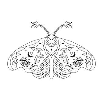 Papillon de nuit dans le style doodle sur fond blanc. coloriage pour enfants et adultes.