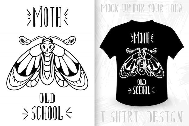 Papillon de nuit. t-shirt imprimé dans le style vintage monochrome.