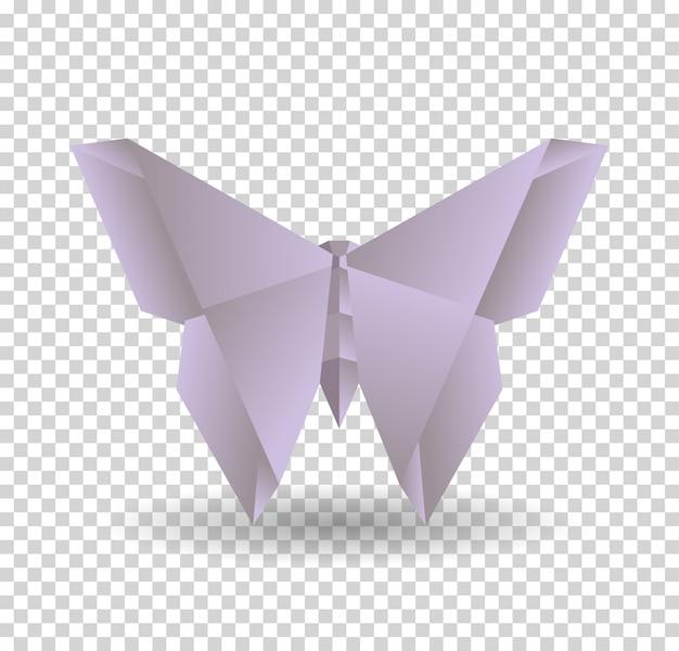 Papillon origami violet sur transparrent