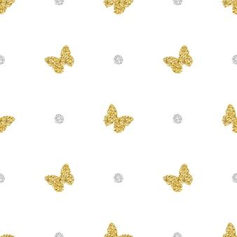Papillon de paillettes d'or sans couture avec motif de points d'argent
