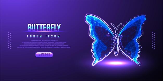 Papillon de polygone sur le réseau de technologie de chaîne de blocs hud background low poly wireframe