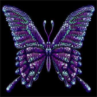Papillon pour la conception de tatouage ou de t-shirt ou des vêtements d'extérieur. papillon de style imprimé mignon.