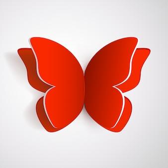 Papillon rouge avec ombre
