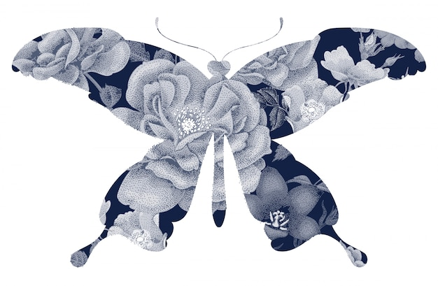 Papillon silhouette florale.