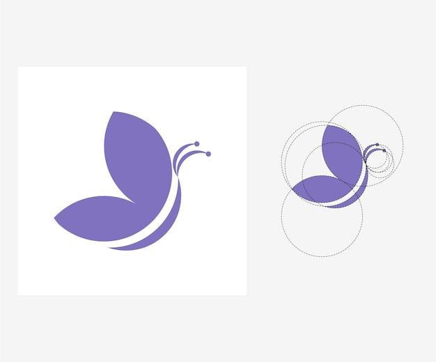 Papillon de vecteur dans le style nombre d'or. illustration modifiable
