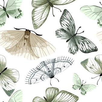 Papillons aquarelle pastel sur fond blanc, modèle sans couture,
