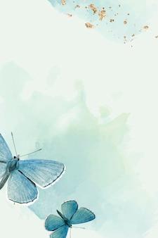 Papillons bleus sur fond