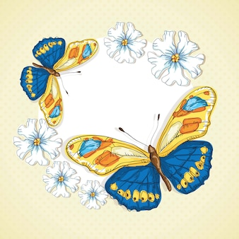 Papillons bleus et jaunes sur fond vintage de fleurs de pentecôte