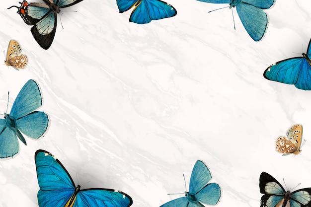 Papillons bleus à motifs sur fond blanc vecteur