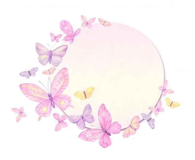 Papillons, cadre de papillons, carte de voeux, aquarelle