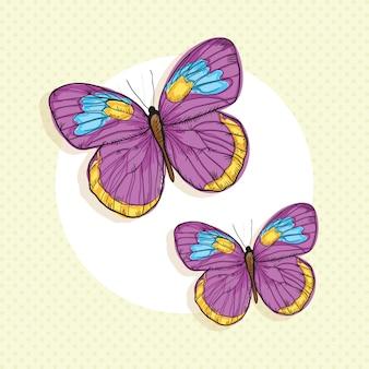 Papillons colorés sur fond vintage