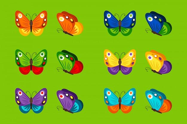 Papillons colorés sur vert vif. illustration vectorielle