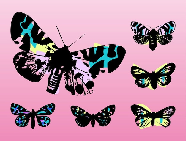 Papillons colorés volant pop art