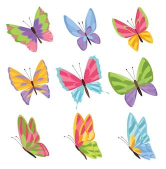 Papillons de couleurs aquarelles isolés sur fond blanc