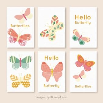Papillons décoratifs cartes établies