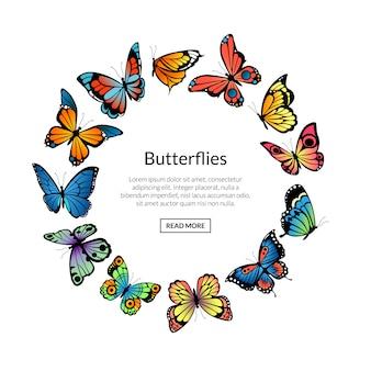 Papillons décoratifs en forme de cercle avec place pour l'illustration de texte