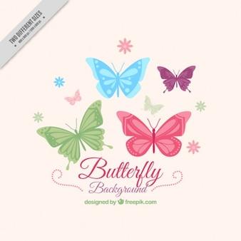 Papillons dessinés à la main fond avec des fleurs