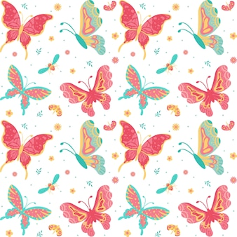 Papillons dessinés à la main, insectes, fleurs et plantes seamless pattern isolé sur fond blanc