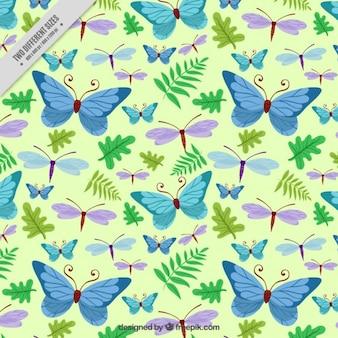 Papillons dessinés à la main et libellule avec des feuilles de fond