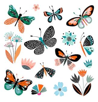 Papillons et fleurs, collection dessinée à la main de différents éléments, isolés