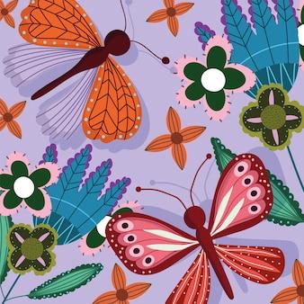 Papillons et fleurs décoration faune et flore colorées