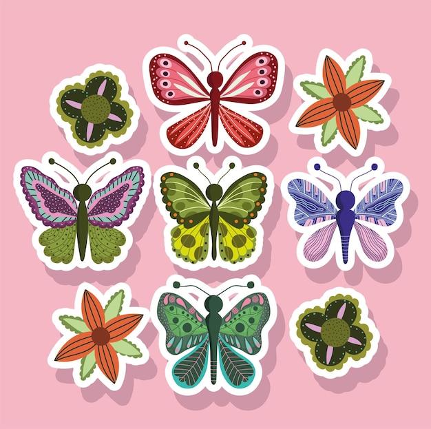 Papillons insectes nature animaux dans le style autocollant sur rose