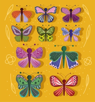 Papillons insectes nature animaux faune et style floral sur jaune