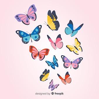 Papillons plats volant