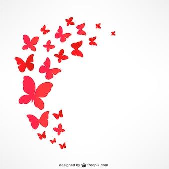 Papillons rouges volants