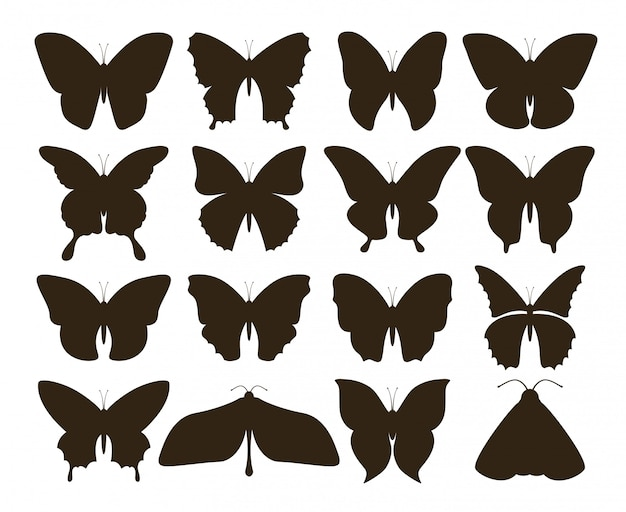 Papillons de silhouette. collection simple de formes de tatouage noir dessinés à la main, ensemble d'insectes mouches vintage. dessin de papillon