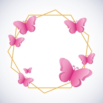 Papillons silhouettes fond rose