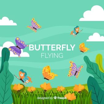 Papillons volant dans un fond de champ