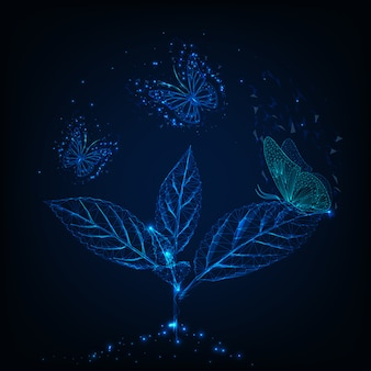 Papillons volants futuristes autour de la plante sur bleu foncé