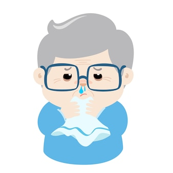 Papy nez qui coule malade parce que la grippe