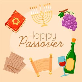 Pâque heureuse avec menorah et vin