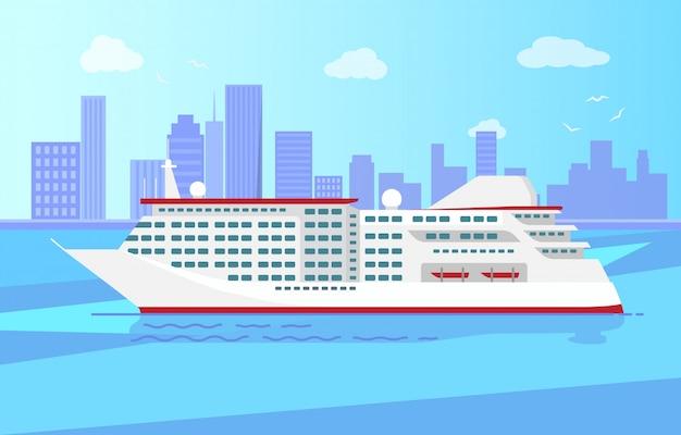 Paquebot de croisière de luxe spacieux grand bateau à vapeur rouge