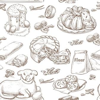 Pâques cuisson dessin vectoriel sans soudure main dessin