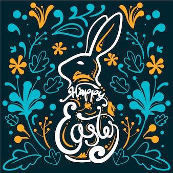 Pâques dessiné à la main avec un dessin abstrait